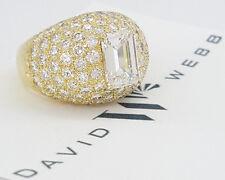 DAVID WEBB 18K Yellow Gold 8.88 ct Emerald Cut & Round Diamond Pave Ring
