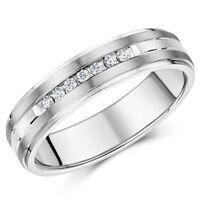 6mm Engagement Wedding Ring Band Titanium & Silver Inlay Cz Eternity Ring Unisex
