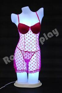 Female Unbreakable Full Round Plastic Mannequin Torso with LED light PS-LF-LED