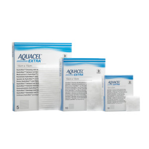 "Aquacel Extra 15 x 15 cm (6 x 6 "") wound dressing x5"
