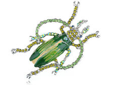 Peridot Paint Enamel Crystal Rhinestone Beetle Bug Fashion Jewelry Brooch Pin