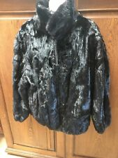 Men's Black Fur (rabbit?) Leather Reversible Jacket