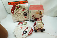 FITZ AND FLOYD CHRISTMAS LOT 2 SANTA CANDY JAR YULETIDE HOLIDAY CANAPE PLATE