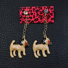 Betsey Johnson Women's Coffee Crystal Enamel Cute Shepherd Dog Stud Earrings