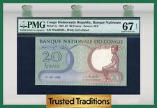 TT PK 4a 1961-62 CONGO DEMOCRATIC REPUBLIC 20 FRANCS PMG 67 EPQ NONE FINER