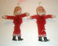 Vintage Holiday Tree Ornaments Plastic Santas