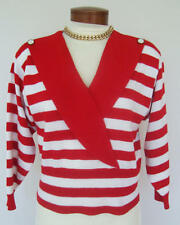 LAURA PETITES by ALYZIA American Luxury Knit Top Red/White Sz 8P Nice Blouse