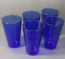 Libbey cobalt blue set of 5 tumblers ice tea drinking glasses A shape flared