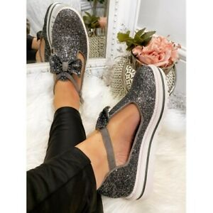 NEW LADIES WOMENS FLATFORM SPARKLING SANDALS FASHION LOAFERS COMFY SHOES SIZE