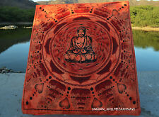 BUDDHA TAPESTRY WALL HANGING SINGLE BEDSPREAD THROW ETHNIC DECOR ART ORANGE GIFT