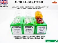 LUCAS T20 580 582A WEDGE AMBER INDICATOR SIDE LIGHT BULBS BRAKE TAIL 12V 21W
