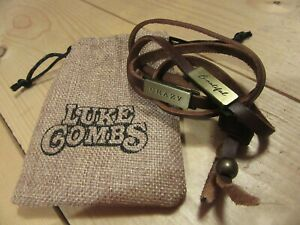 Rare Luke Combs Beautiful Crazy leather bracelet necklace anklet SOLD OUT promo