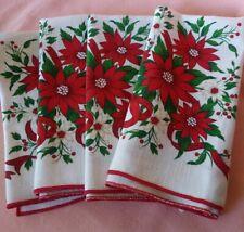 New ListingVintage Set of 4 Christmas Poinsettias Cotton Napkins Pretty!