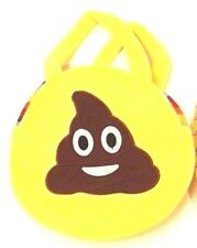 "Emoji Poop Purse Yellow Rainbow Round Plush Novelty Bag 9"" x 2"""