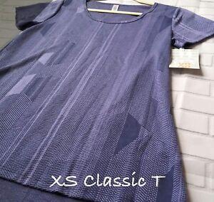 NWT Lularoe Size XS Stretchy Purple Geometric Women's Classic T Shirt Top