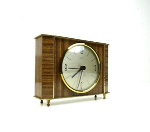 VERY RARE STUNNING MID CENTURY MODERNISM TEAK TABLE CLOCK VINTAGE 1960 BY KAISER