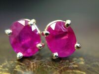 Glowing Natural Ruby .90CTW 14K Yellow Gold Stud Earrings