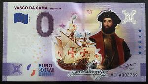 DECALAGE FAUTE Billet Souvenir 0 euro Vasco de Gama Couleur 2021 Anniversary