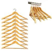 20 Wooden Coat Hangers Suit Dress Clothes Wardrobe Hanger Organiser Trouser Suit