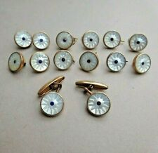 ANTIQUE SET 12 MOTHER OF PEARL WAISTCOAT / SHIRT BUTTONS AND A PAIR OF CUFFLINKS