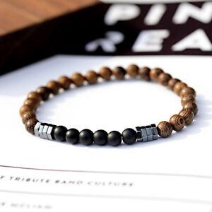 Fashion Men's Bracelet Natural Wood Beads Hematite Charm Elastic Strand Bracelet
