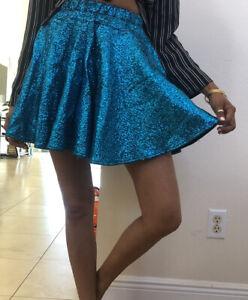 Dolls Kill Sold Out Metallic Teal Crinkle Skater Skirt Rave Sparkle Skirt S Rare
