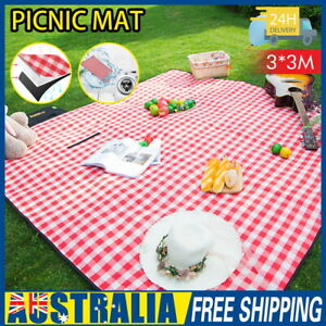 AU 3m*3m Extra Large Picnic Blanket Mat Cashmere Waterproof Rug Outdoor Camping