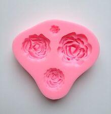 New 4 Design Rose Silicone Fondant Mold Cake Cupcake Flower Embossing Sugarcraft