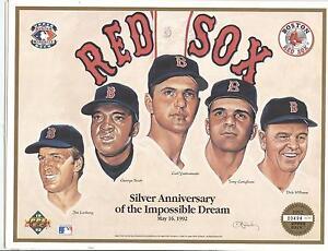 1967 Boston Red Sox Carl Yastrzemski Tony Conigliaro Promo Sheet Upper Deck