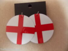 England Flag Earrings St George Round Dangle BNIP