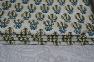 Indian Hand Block Craft Sewing` Floral Running Loose Cotton Fabric 100 Yard`