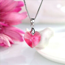 Classic heart necklace made with Swarovski Elements thin box chain for  women