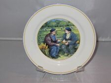 Sabatier FRENCH BREAD Men on a Bench Bone China Dessert Plate - EUC