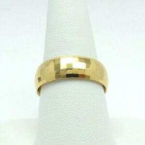 New 18K Gold Faceted Sparkling 7mm Wedding Band Thumb Ring sz9