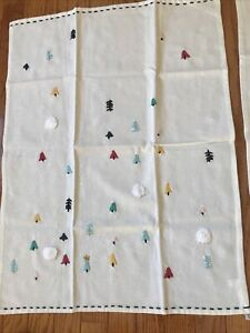 Anthropologie 2 Christmas Cotton Towels NWT Hand Embroidered