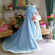 Warm Hooded Long Cloak Winter Faux Fur Costume Poncho Wedding Capes