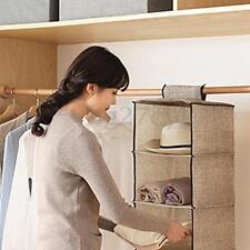 3 Shelf Hanging Wardrobe Clothes Bag Garment Drawer Closet Storage Organiser