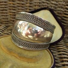 LOVELY WIDE  SUARTI STYLE STERLING SILVER BANGLE HEAVY 35gm