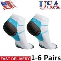 1-6Pair Compression Socks Plantar Fasciitis Arch Ankle Running Support Men Women