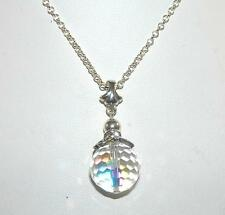 Faceted Crystal Ball Pendant Sterling Silver on 18-Inch Sterling Chain
