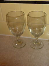 """Libbey Libby 2 Clear Crystal Wine Water Iced Tea Glasses Goblet Stemware 7"""" A8"""