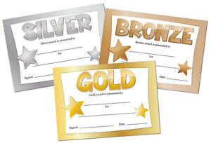 Gold, Silver or Bronze Award Certificates - 16 x A6 - sport, school, competition