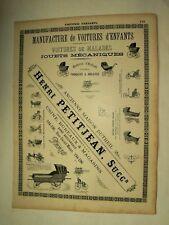 Planche Publicitaire Voiture d'Enfant Jouet Mécanique Paris 1894 poster Calèche