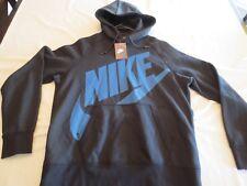 NIKE AW77 FLEECE PULLOVER HOODIE Sweatshirt BLACK BLUE Mens SIZE LARGE L NWT