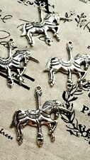 Unicorn Carousel 3 plata encantos Joyería suministros de estilo vintage C372