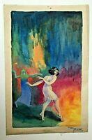 GEO DUVAL, peintre illustrateur, femme dansant, aquarelle signée et datée de 192