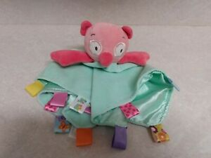 Taggies Owl Lovey Plush Pink And Sea Green Rattle Very Soft Cute ~ GUC Free Ship