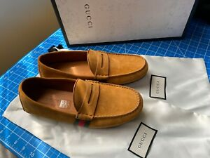 Gucci Light Brown/Yellow Suede Leather Loafers 8.5UK/9.5US/42.5 EUR - 407411