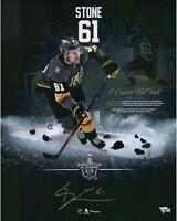 "Mark Stone Vegas Golden Knights Signed 16"" x 20"" First Hat Trick Highlight Photo"