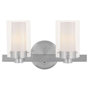 LIVEX Lighting Fixture 2-Light Wall Sconce Clear Frosted Glass Brushed Nickel